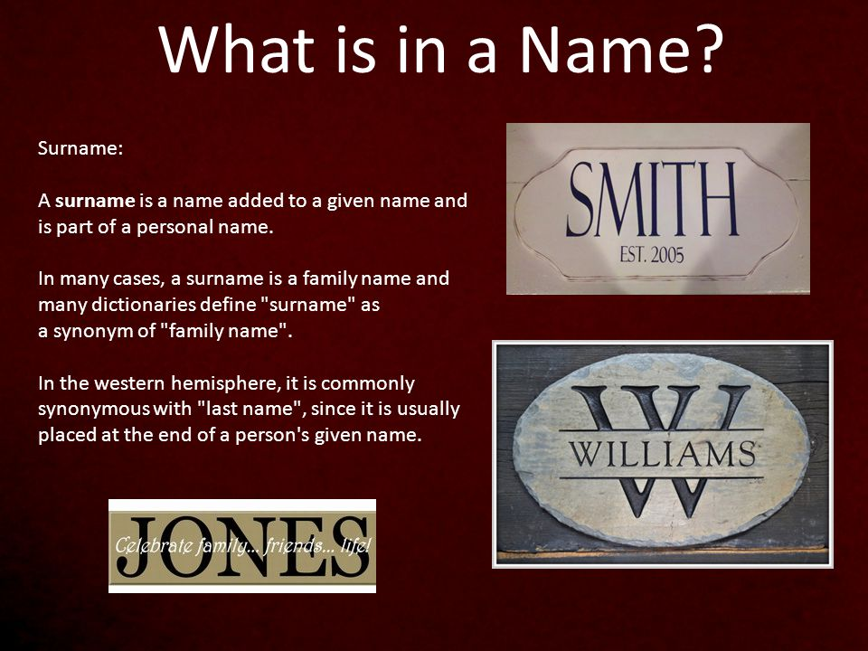 What is the Surname of Jesus?