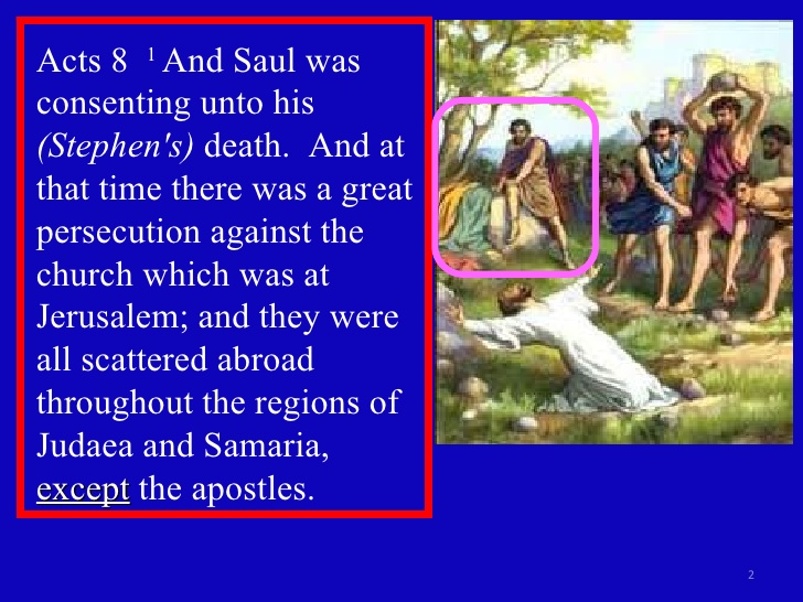 Picture of Saul sitting and watching the stoning of Stephen