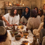 A Picture of the disciples of the lord with Jesus and some of the women who followed him