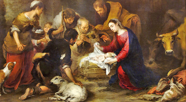 A picture of the birth of Jesus Christ with his parents and three wise men